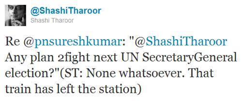 Shashi Tharoor for UN Secretary General in 2012