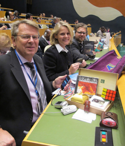 In 2011, Norway and other members received gift packages from Security Council candidates, including a Rubik's cube, a CD, chocolates, and more. (Photo: Norwegian Mission)