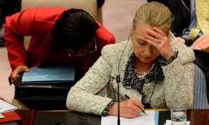 US Secretary of State Hillary Clinton doodles during a UN Security Council meeting