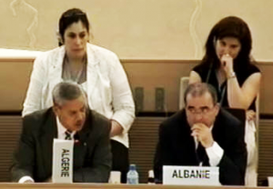 Amb. Boudjemaa Delmi discusses responds to comments on Algeria's protection of the right to freedom of opinion and expression in a 2012 HRC meeting (Photo: UN)