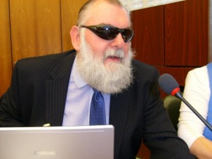 Chris Friend, with World Blind Union, lobbies WIPO on a treaty to improve access for the visually impaired (Photo: KEI)