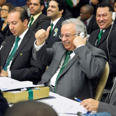 Abdallah Yahya A. Al-Mouallimi, Permanent Representative of Saudi Arabia to the UN, reacts to the announcement of the election results. (UN Photo/Paulo Filgueiras)