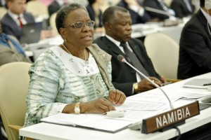 Namibia's foreign minister Netumbo Nandi-Ndaitwah addresses disability-inclusive development (UN Photo/Amanda Voisard)