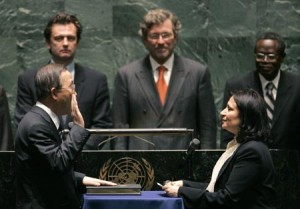 Ban Ki-moon takes the oath of office in 2006