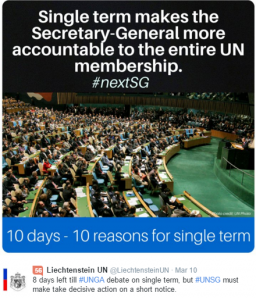 Numerous governments and civil society groups are proposing the next UN Secretary General expect to serve a single 7-year term, a proposal initially put forward by Canada in 2006.